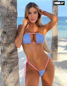 Biquini Noronha Azul com rosa bb