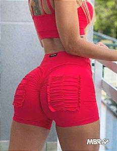 Short vermelho bolsinhos frufru