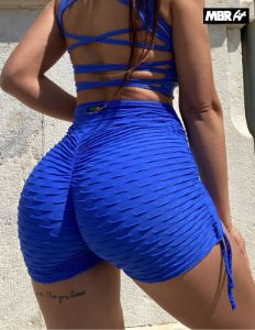 Short brocado azul Royal