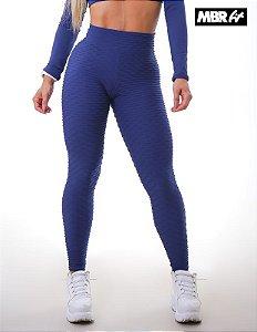 Legging brocado Azul Marinho empina bumbum