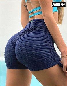 Short brocado azul marinho