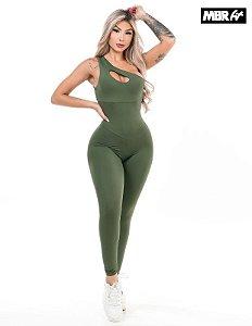 Macacão longo Ombro verde musgo