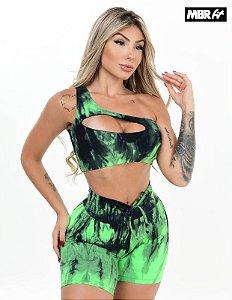 Conjunto Ombro tie dye verde/preto short