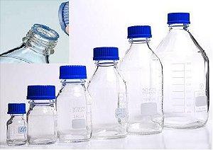 Frasco reagente com tampa azul anti-gotas - Borossilicato