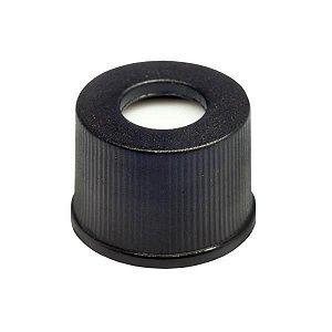 Tampa plástica de rosca, cor preta, rosca de 8mm, com septo em PTFE/Silicone, furo central com 5.5mm (100 unidades)