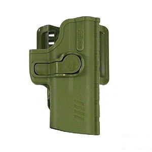 Coldre Pro SR1 Em Polímero C/ Adptador de Cintura Bélica Canhoto - Verde
