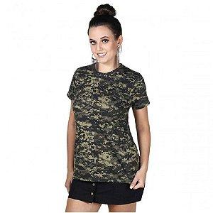 Camiseta Feminina Soldier Camuflada Bélica Digital Pântano