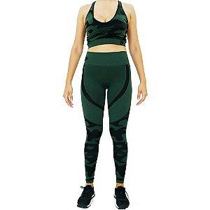 Conjunto Top + Legging Seamless Treme Terra - Verde Camuflado