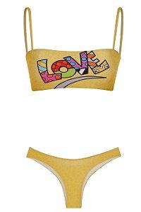 Bikini Pior que Possa Imaginar Love Amarelo