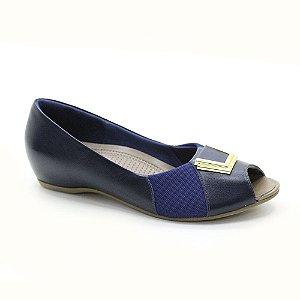 Sapato Peep Toe Salto Embutido Usaflex para Joanetes