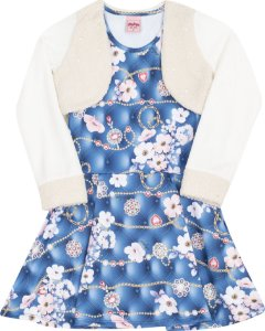 Vestido com Bolero Floral Azul - Serelepe Kids