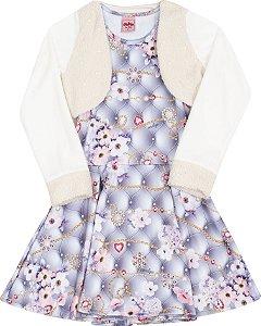 Vestido com Bolero Floral Cinza - Serelepe Kids