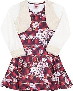 Vestido com Bolero Floral Vermelho - Serelepe Kids