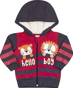 Conjunto com Capuz Hello Boy Vermelho - Serelepe Kids