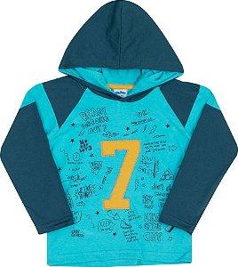 Camiseta Avulsa com Capuz 7 Azul - Serelepe Kids