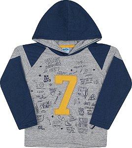 Camiseta Avulsa com Capuz 7 Mescla - Serelepe Kids
