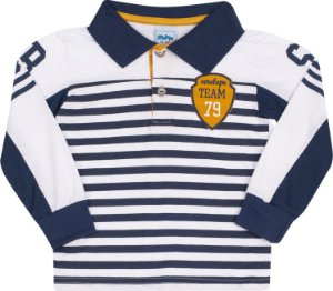 Camisa Polo Avulsa Listras Marinho - Setelepe Kids