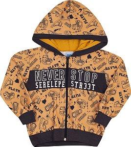 Conjunto com Capuz Never Stop Caramelo - Serelepe Kids