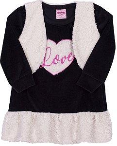 Vestido Love Preto - Serelepe Kids