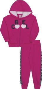 Conjunto em Moletom Be Cool Pink - Serelepe Kids