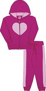 Cojunto em Moletom Coração Pink - Serelepe Kids