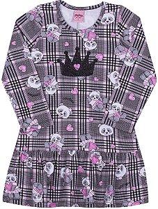 Vestido em Cotton Panda Preto - Serelepe Kids