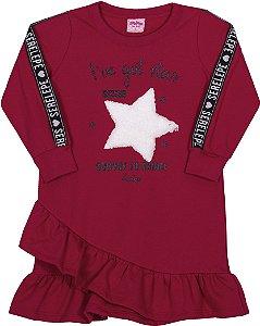 Vestido em Moletom Estrela Cabernet - Serelepe Kids