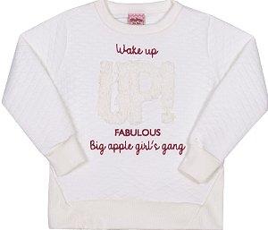 Blusão em Matelassê UP! Off White - Serelepe Kids