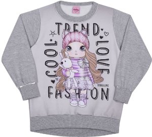 Blusão em Moletom Fashion Mescla - Serelepe Kids