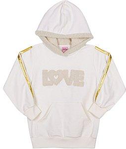 Blusão em Moletom com Capuz Love Off White - Serelepe kids