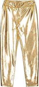 Calça Avulsa em Cirrê Metalizado Dourado - Serelepe Kids