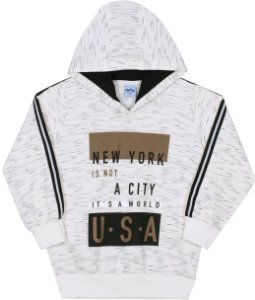 Blusão Infantil com Capuz USA Off White - Serelepe Kids