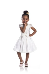 Vestido em Cotton Cetim Jardim Off White - Miss Lepe