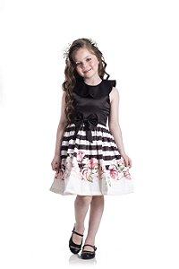 Vestido em Cotton Cetim Listras Preto - Miss Lepe