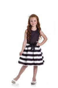Vestido em Neoprene Listras Preto - Miss Lepe