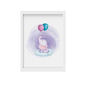 Placa decorativa Elefantinho e Balões