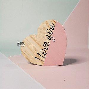 Coração Love Rosa