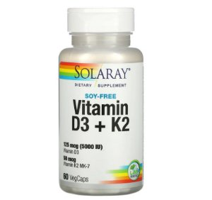 Vitamina D3 + MK7 Solaray Sem Soja 60 caps