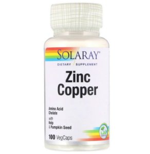 Imunidade Zinco + Cobre Solaray 100 Caps