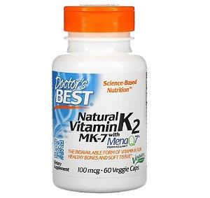 Vitamina K2 Doctors Best MK-7 com MenaQ7 100 Mcg 60 caps