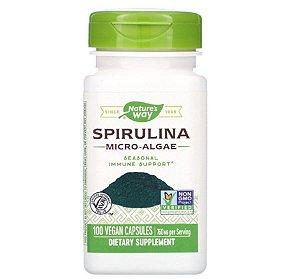 Alimento Verde Natures Way Spirulina 100 Cápsulas