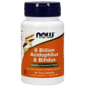Probiótico Now Foods Acidophilus e Bifidus 8 Bilhões