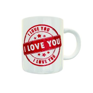 Caneca de Porcelana Carimbo I Love You