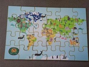 Quebra Cabeça Mapa Mundi Animais