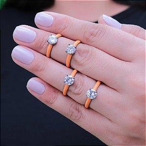 Anel da moda esmaltado em laranja em ródio negro