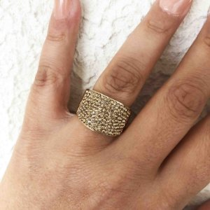 Anel luxo flexível cristais semijoia ouro 18k
