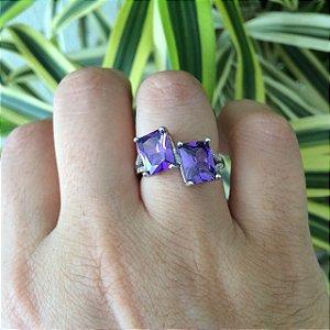 Anel zircônia ultra violeta semijoia