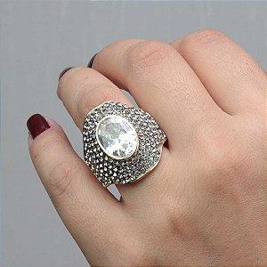 Maxi anel cristal austríacos banhado em ouro 18k