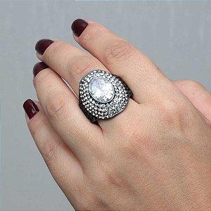 Maxi anel cristal austríacos em ródio negro