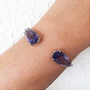Bracelete da moda semijoia de luxo banhada em ródio